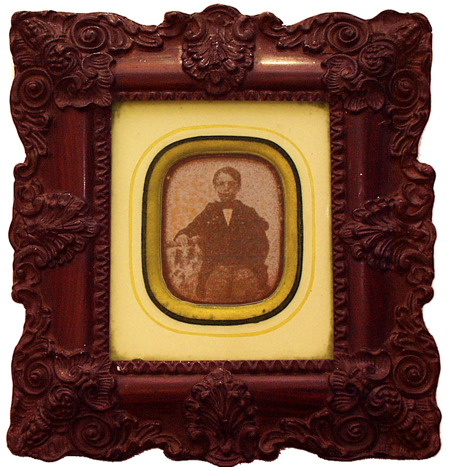 Ambrotype Of A Young Boy In Mahogany Frame 19th Century - click to enlarge.