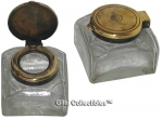 Pressed Glass Inkwell with Brass Top.