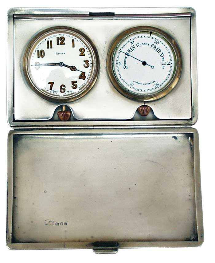 Traveling Silver Clock and Barometer London 1928 - click to enlarge.