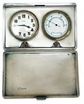 Traveling Silver Clock and Barometer London 1928