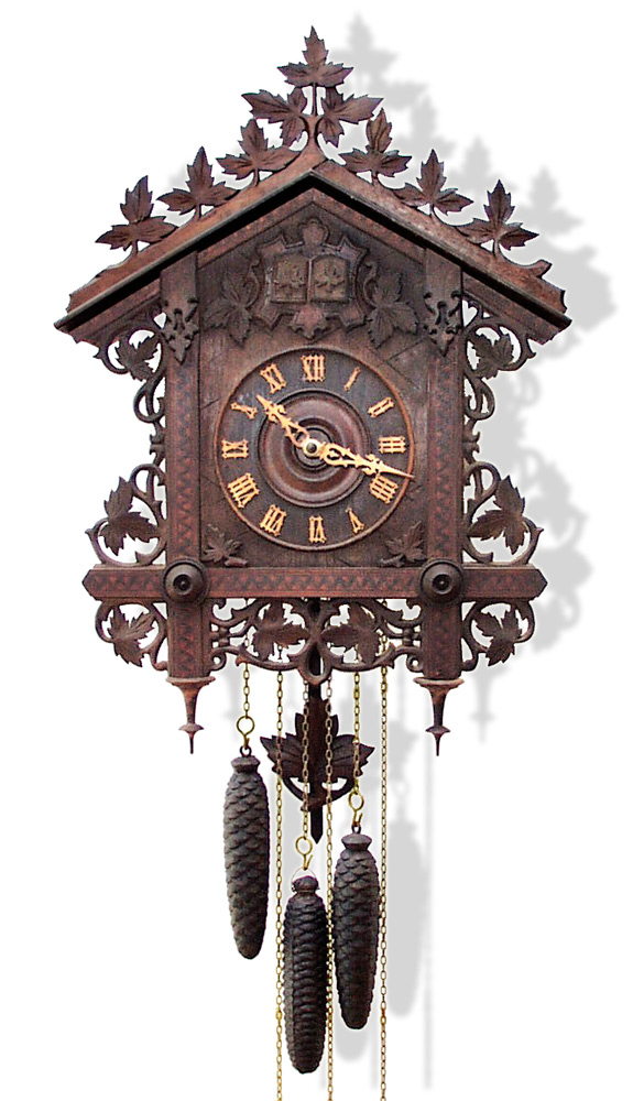19th century carved and inlaid german cuckoo and quail quarter striking wall clock gilai - Cuckoo pendulum wall clock ...