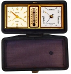 Traveling Clock, Barometer and Thermometer in Leather Case