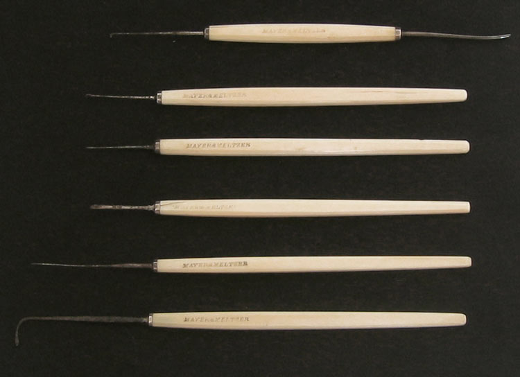 Set of 6 Ivory Handled Opthalmic Surgical Instruments 19th Century - click to enlarge.