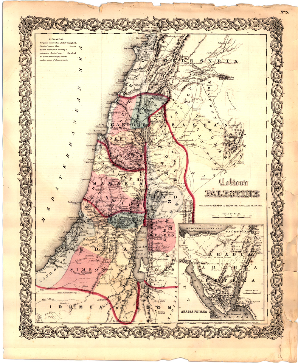 Colton\'s Map of Palestine ( Holy Land) 1860 w/ Inset of the