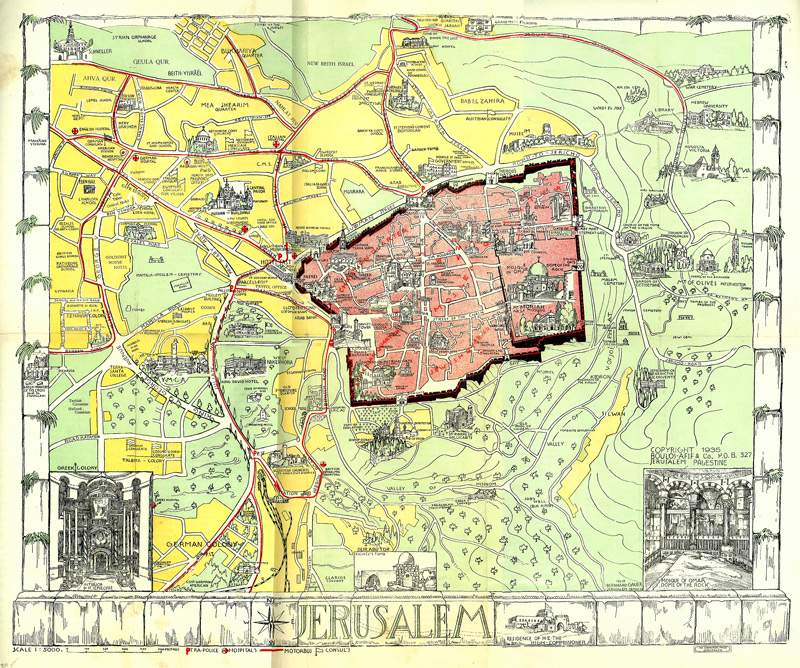 Map of Jerusalem and Tourist guide 1935 - Gilai Collectibles