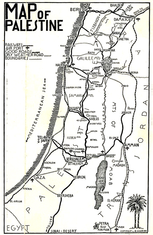 Map of Jerusalem and Tourist guide 1935 Gilai Collectibles – Jerusalem Tourist Map