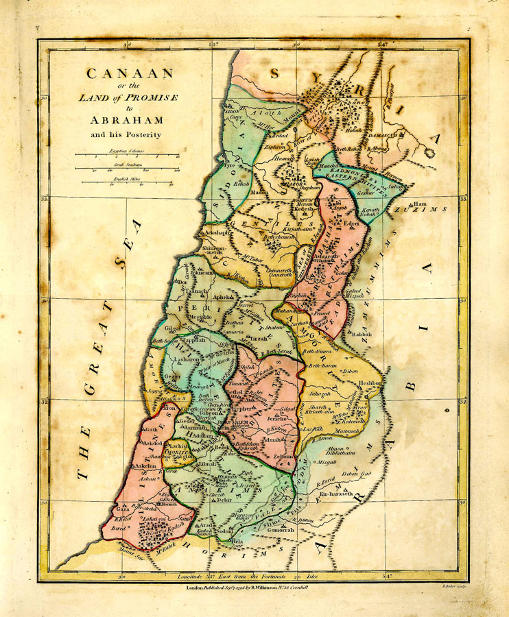 wilkinson map of canaan or the land of promise 1807 gilai