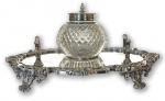 Silver Plated Inkstand and Inkwell, Victorian 19th Century