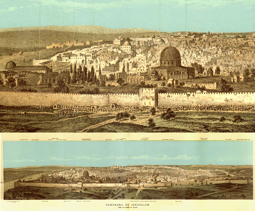 Panoramic Engraved Photograph of Jerusalem 1876 - click to enlarge.