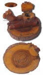 Jerusalem Olive Wood Camel Inkwell Early 20th Century