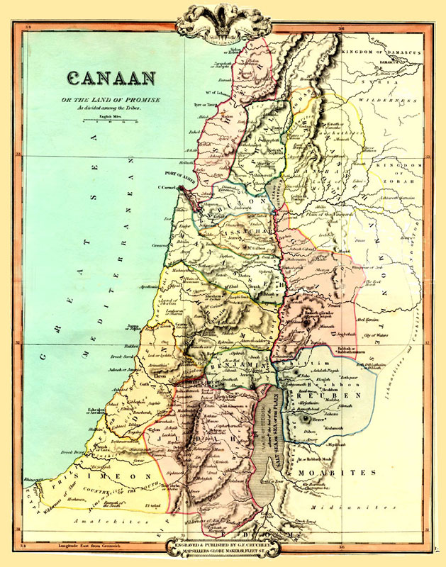 Land Of Canaan Map Map of Canaan or the Land Of Promise 1854. Made by G. F. Cruchley  Land Of Canaan Map