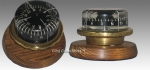 Liquid Magnetic Compass on Brass and Wood Stand.