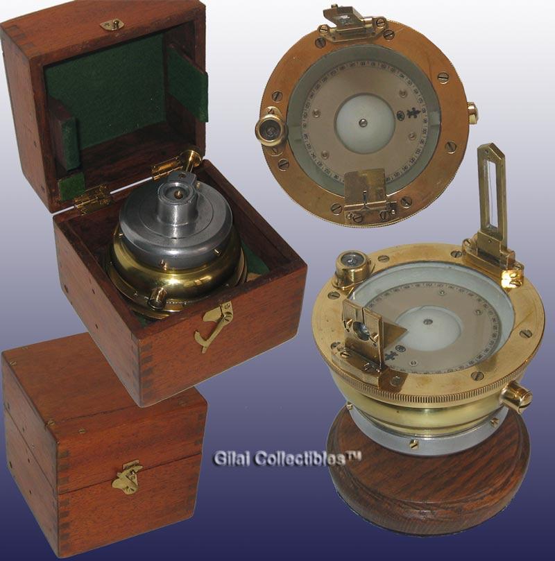 A Brass Landing Compass In Original Box By Henry Hughes London
