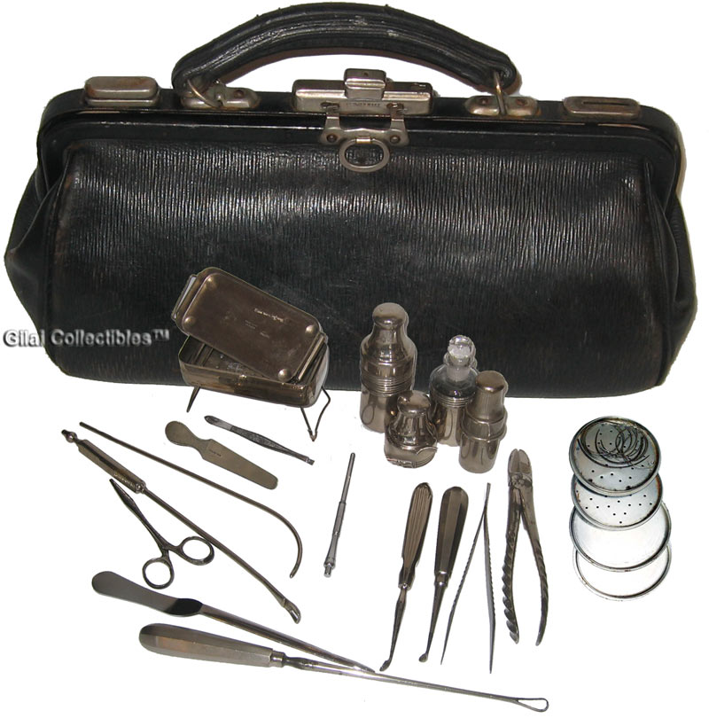 Antique British Surgeon S Medical Bag With 17 Instruments Click To Enlarge