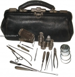 Antique British Surgeon's Medical Bag With 17 Instruments.