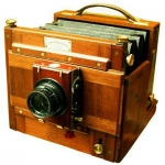 Perkin, Son & Rayment Tailboard folding camera. 1886.