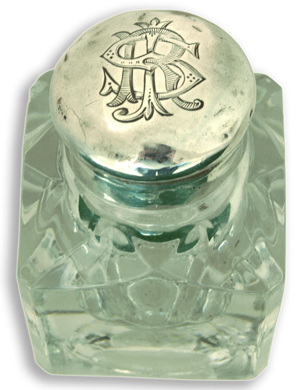 John Grinsell Inkwell Victorian Silver Top Cut Glass  - click to enlarge.
