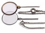 Two Monocles, Tortoiseshell Rimmed and Chrome Rimmed in Square Case - click to enlarge.