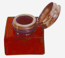 Small Glass Inkwell Red - click to enlarge.