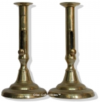 Late 18th Century Brass Pusher Candlesticks.