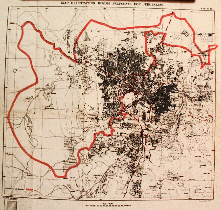Sir W FitzGerald report and a map illustrating the Jewish proposals