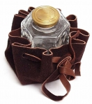 Pressed Glass Hexagonal Inkwell in a Leather Pouch