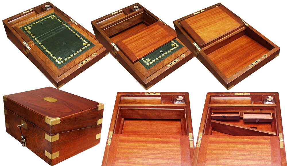 Victorian Walnut Writing Slope With Secret Drawers Gilai