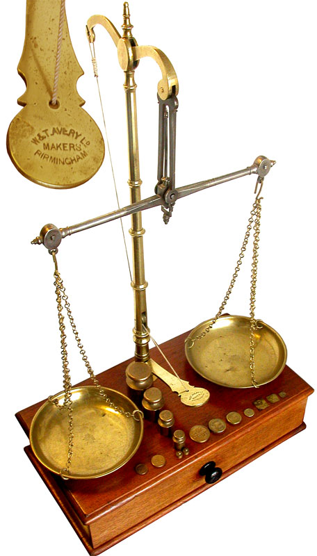 An Early Apothecary Beam Balance Scale by Avery, Birmingham. - click to enlarge.