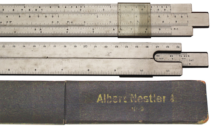 Mannheim Slide Rule Made in 1920 by Albert Nestler No.9  . - click to enlarge.
