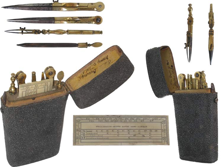 Shagreen Cased Drawing Instrument Set by Wellington. - click to enlarge.