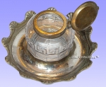 Pressed Glass Inkwell with Brass Circular Tray.