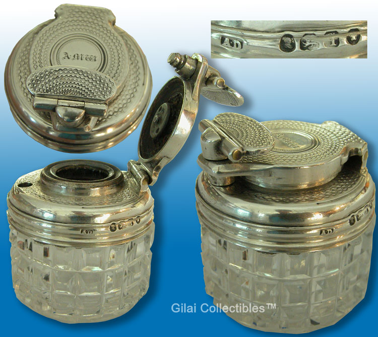 Traveling Inkwell Silver Top  Glass 1831  - click to enlarge.