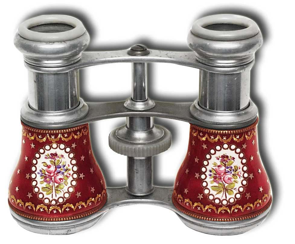 Opera Glasses - Rare French Aluminum and Enamel - click to enlarge.