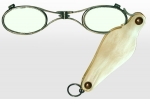 Hinged Lorgnette Eyeglasses 19th Century Silver and Mother-of-Pearl
