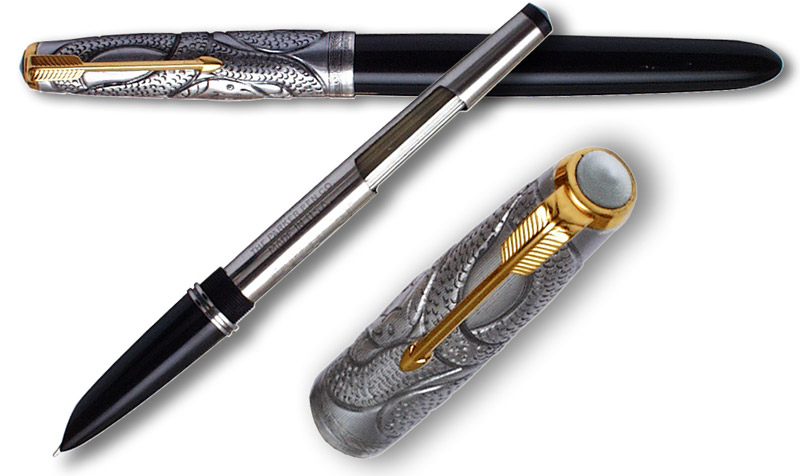 Unique Parker 51 Aerometric Pen with Sterling Silver Cap by Mauricio Faivich - click to enlarge.