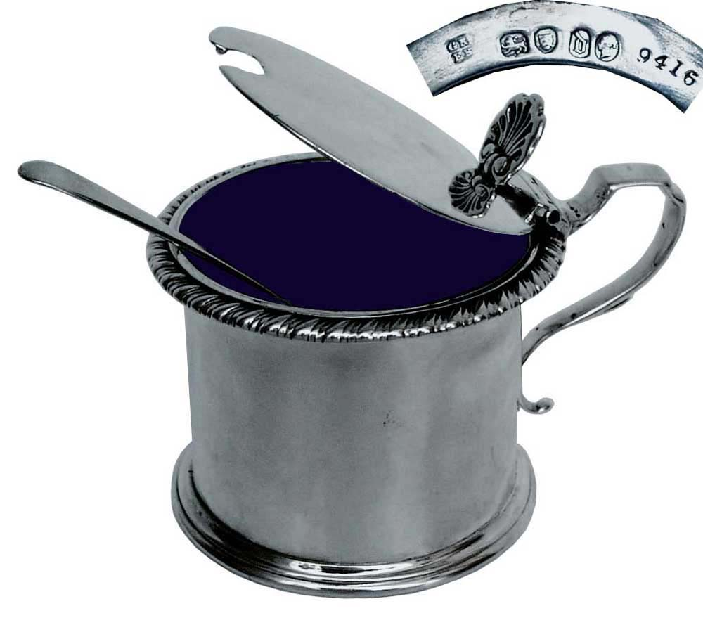 Silver Mustard Pot with Blue Cobalt Liner  Victorian 1859 - click to enlarge.