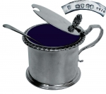Silver Mustard Pot with Blue Cobalt Liner  Victorian 1859