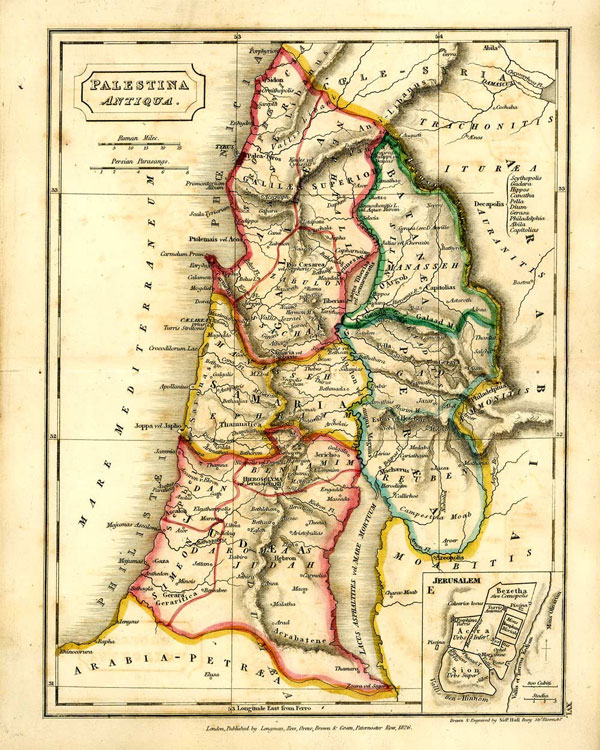 Map Of Palestina Antiqua London 1826 With Biblical Jewish