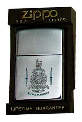 Zippo Lighter with English Royal Marines Insignia - click to enlarge.