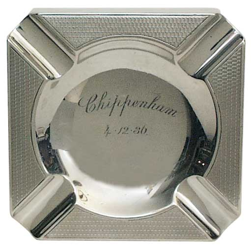 Silver Ashtray  1931 - click to enlarge.