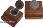 Wood Inkwell and Pen Rest Early 20th Century