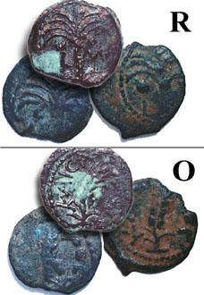 Prutot (lot of 3 coins) of Procurator Marcus Ambibulus - click to enlarge.